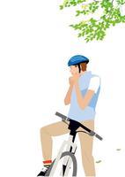 サイクリングする男性