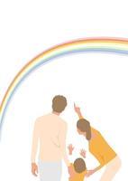 虹を見る家族3人