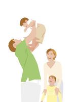 子供を抱き上げる父とそれを見る母娘