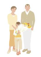 花束を持つ孫と祖父母