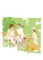 新緑の公園のベンチで話す母娘と孫