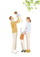 子供を抱き上げる父子と見上げる母子