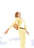 爽やかな空に胸を張るキャリアウーマン
