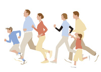 走っている三世代ファミリー