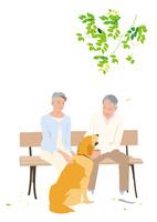 犬の散歩の途中公園のベンチで休むシニアカップル
