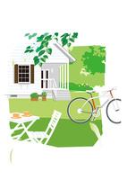 緑の中のガーデンテラスと自転車