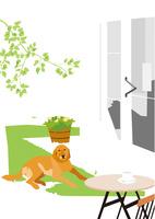 緑の芝の庭のベランダに座る犬