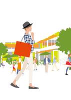 ショッピング街を歩く女性