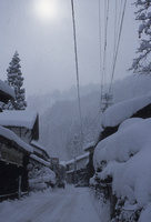 白峰の堅豆腐作り 白峰村の雪景色