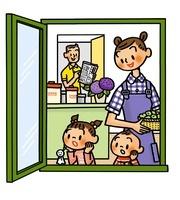 窓の外を眺める子供と父母 02551000001| 写真素材・ストックフォト・画像・イラスト素材|アマナイメージズ