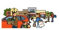 車で買い物に来ている親子