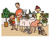 ベランダで食事をする親子とイヌ