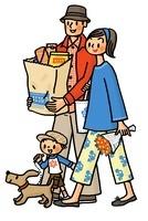買い物帰りの親子とイヌ