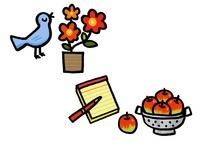 花と鳥とノートとリンゴ