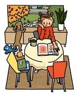 本を読む女性と外を眺めるイヌ 02551000019| 写真素材・ストックフォト・画像・イラスト素材|アマナイメージズ