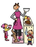 ハートのケーキを作る親子とイヌ