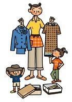 洋服を選ぶ親子
