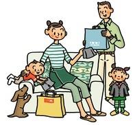 洋服を見る家族