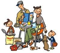 ガーデニングを楽しむ家族とイヌ 02551000032| 写真素材・ストックフォト・画像・イラスト素材|アマナイメージズ
