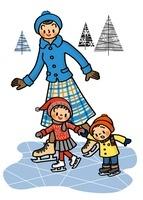 アイススケートを楽しむ親子 02551000034| 写真素材・ストックフォト・画像・イラスト素材|アマナイメージズ