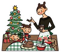 クリスマスケーキを作る親子とイヌ