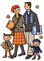 紅葉の中歩く家族 02551000038| 写真素材・ストックフォト・画像・イラスト素材|アマナイメージズ