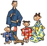 浴衣を着る家族とイヌ
