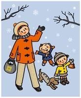 雪を見上げる親子とイヌ