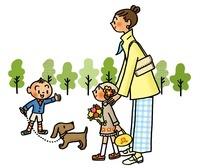 お出かけをする親子とイヌ 02551000042| 写真素材・ストックフォト・画像・イラスト素材|アマナイメージズ