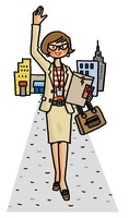 片手を上げる女性 ビジネスイメージ