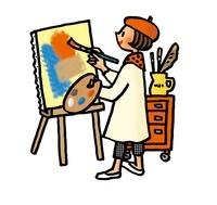 絵を描く女性 02551000060| 写真素材・ストックフォト・画像・イラスト素材|アマナイメージズ