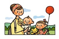 ピクニックを楽しむ母親と子供たち