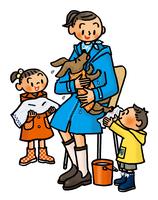 雨にぬれた犬を抱えるお母さんとタオルで拭く子供たち