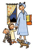 夜に眠くなった子供たちと手を引くお母さん