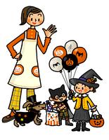 ハロウィンの仮装をする子供たちと見守るお母さん