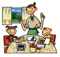 卵を使ってお菓子作りをするお母さんと子供たち