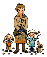 落ち葉や木の実を拾う子供たちとお母さん 02551000096| 写真素材・ストックフォト・画像・イラスト素材|アマナイメージズ