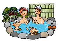 露天風呂に入る家族