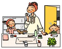 夜にスキンケアをする母娘と歯磨きする子供