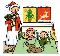 子供たちが寝るベッドサイドにプレゼントを置こうとするお母さん