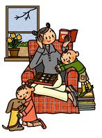 チョコレートを狙う子供と本を読むお母さん