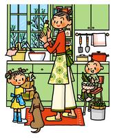 キッチンで料理をするお母さんとお手伝いをする子供たち