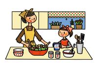 一緒にサラダ作りをする母娘 02551000108| 写真素材・ストックフォト・画像・イラスト素材|アマナイメージズ