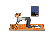 ヨガマットの上でストレッチをする女性 02551000112| 写真素材・ストックフォト・画像・イラスト素材|アマナイメージズ