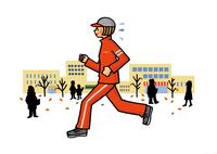 街中をジョギングする女性 02551000113| 写真素材・ストックフォト・画像・イラスト素材|アマナイメージズ