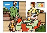 食卓に集まる家族 02551000114| 写真素材・ストックフォト・画像・イラスト素材|アマナイメージズ