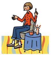イスに座り話をする女性 02551000116| 写真素材・ストックフォト・画像・イラスト素材|アマナイメージズ