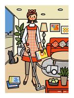 部屋で掃除機をかける女性 02551000117| 写真素材・ストックフォト・画像・イラスト素材|アマナイメージズ