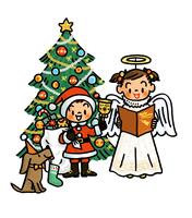 クリスマスツリーとサンタクロースと天使の格好をした子供たち 02551000119| 写真素材・ストックフォト・画像・イラスト素材|アマナイメージズ