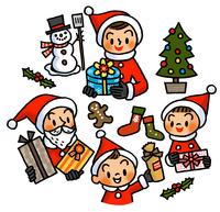 サンタクロースの姿でプレゼントを手にする家族 02551000120| 写真素材・ストックフォト・画像・イラスト素材|アマナイメージズ